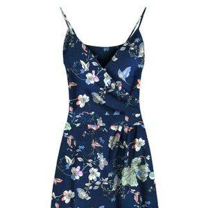 DEX - Wrap Dress / Floral / Navy blue / sz. M